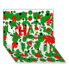 Red And Green Christmas Design  Thank You 3d Greeting Card (7x5)
