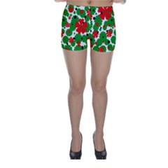Red And Green Christmas Design  Skinny Shorts by Valentinaart