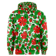 Red And Green Christmas Design  Men s Zipper Hoodie by Valentinaart