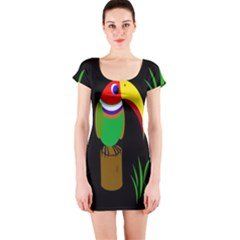 Toucan Short Sleeve Bodycon Dress by Valentinaart