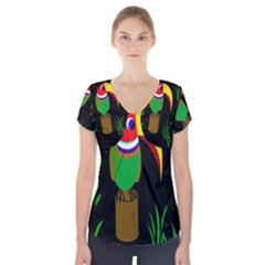 Toucan Short Sleeve Front Detail Top by Valentinaart