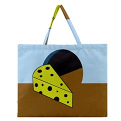 Cheese  Zipper Large Tote Bag by Valentinaart