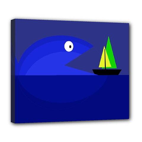 Blue Monster Fish Deluxe Canvas 24  X 20   by Valentinaart