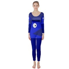 Blue Monster Fish Long Sleeve Catsuit by Valentinaart