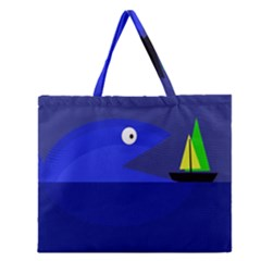 Blue Monster Fish Zipper Large Tote Bag by Valentinaart
