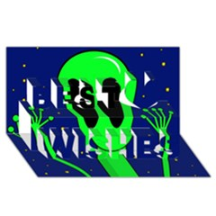 Alien  Best Wish 3d Greeting Card (8x4)