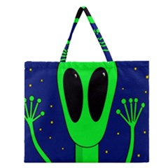 Alien  Zipper Large Tote Bag by Valentinaart