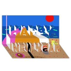 On The Beach  Happy New Year 3d Greeting Card (8x4)  by Valentinaart