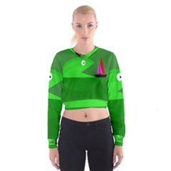 Green Monster Fish Women s Cropped Sweatshirt by Valentinaart
