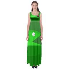 Green Monster Fish Empire Waist Maxi Dress