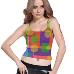 Colorful Geometrical Design Spaghetti Strap Bra Top by Valentinaart