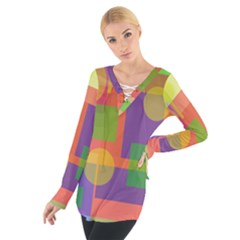 Colorful Geometrical Design Women s Tie Up Tee by Valentinaart