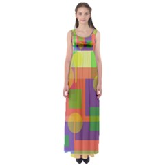 Colorful Geometrical Design Empire Waist Maxi Dress by Valentinaart