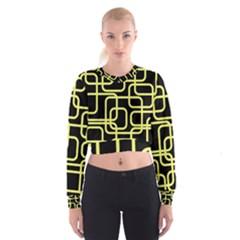 Yellow And Black Decorative Design Women s Cropped Sweatshirt by Valentinaart