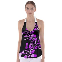 Purple Decorative Abstraction Babydoll Tankini Top