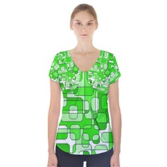 Green Decorative Abstraction  Short Sleeve Front Detail Top by Valentinaart