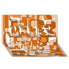 Orange Decorative Abstraction Merry Xmas 3d Greeting Card (8x4)