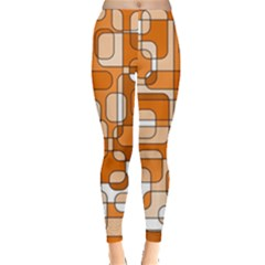 Orange Decorative Abstraction Leggings  by Valentinaart