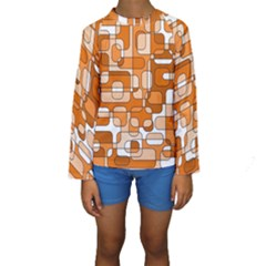 Orange Decorative Abstraction Kid s Long Sleeve Swimwear by Valentinaart