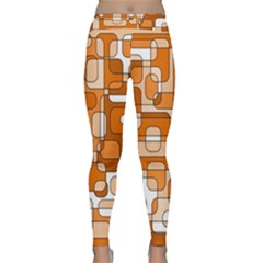 Orange Decorative Abstraction Yoga Leggings by Valentinaart