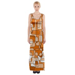 Orange Decorative Abstraction Maxi Thigh Split Dress by Valentinaart