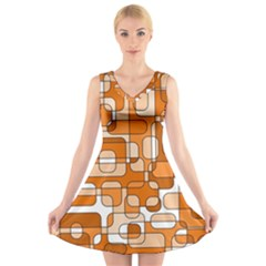 Orange Decorative Abstraction V Neck Sleeveless Skater Dress by Valentinaart