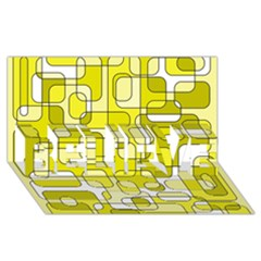 Yellow Decorative Abstraction Believe 3d Greeting Card (8x4)