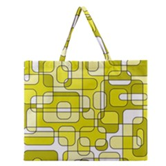 Yellow Decorative Abstraction Zipper Large Tote Bag by Valentinaart