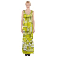 Yellow Decorative Abstraction Maxi Thigh Split Dress by Valentinaart