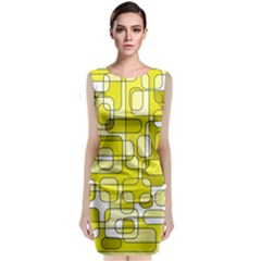 Yellow Decorative Abstraction Classic Sleeveless Midi Dress