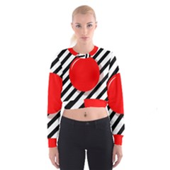 Red Ball Women s Cropped Sweatshirt by Valentinaart