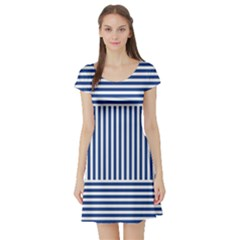 Nautical Striped Short Sleeve Skater Dress by olgart