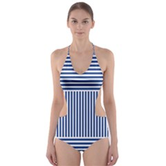 Nautical Striped Cut Out One Piece Swimsuit by olgart
