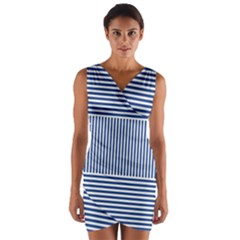 Nautical Striped Wrap Front Bodycon Dress by olgart