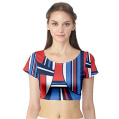 Abstract nautical Short Sleeve Crop Top (Tight Fit) by olgart