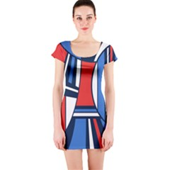 Abstract Nautical Short Sleeve Bodycon Dress by olgart