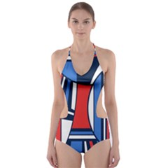 Abstract Nautical Cut Out One Piece Swimsuit by olgart