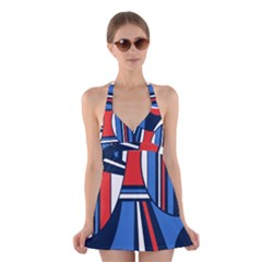 Abstract Nautical Halter Swimsuit Dress by olgart
