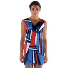 Abstract Nautical Wrap Front Bodycon Dress by olgart