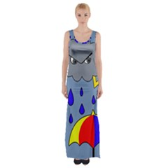 Rainy Day Maxi Thigh Split Dress by Valentinaart