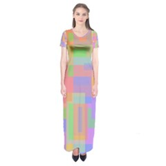 Pastel Decorative Design Short Sleeve Maxi Dress by Valentinaart