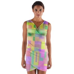 Pastel Colorful Design Wrap Front Bodycon Dress by Valentinaart