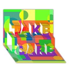 Colorful Geometrical Design Take Care 3d Greeting Card (7x5)