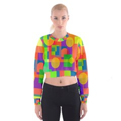 Colorful Geometrical Design Women s Cropped Sweatshirt by Valentinaart