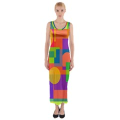 Colorful Geometrical Design Fitted Maxi Dress by Valentinaart