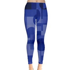 Deep Blue Abstract Design Leggings  by Valentinaart
