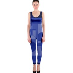 Deep Blue Abstract Design Onepiece Catsuit by Valentinaart