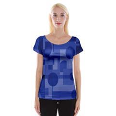Deep Blue Abstract Design Women s Cap Sleeve Top by Valentinaart