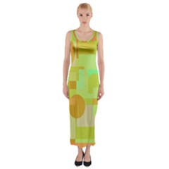 Green And Orange Decorative Design Fitted Maxi Dress by Valentinaart
