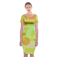 Green And Orange Decorative Design Classic Short Sleeve Midi Dress by Valentinaart